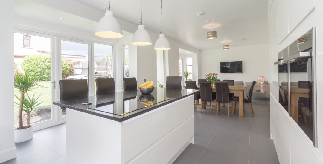 Open plan kitchen and living areas