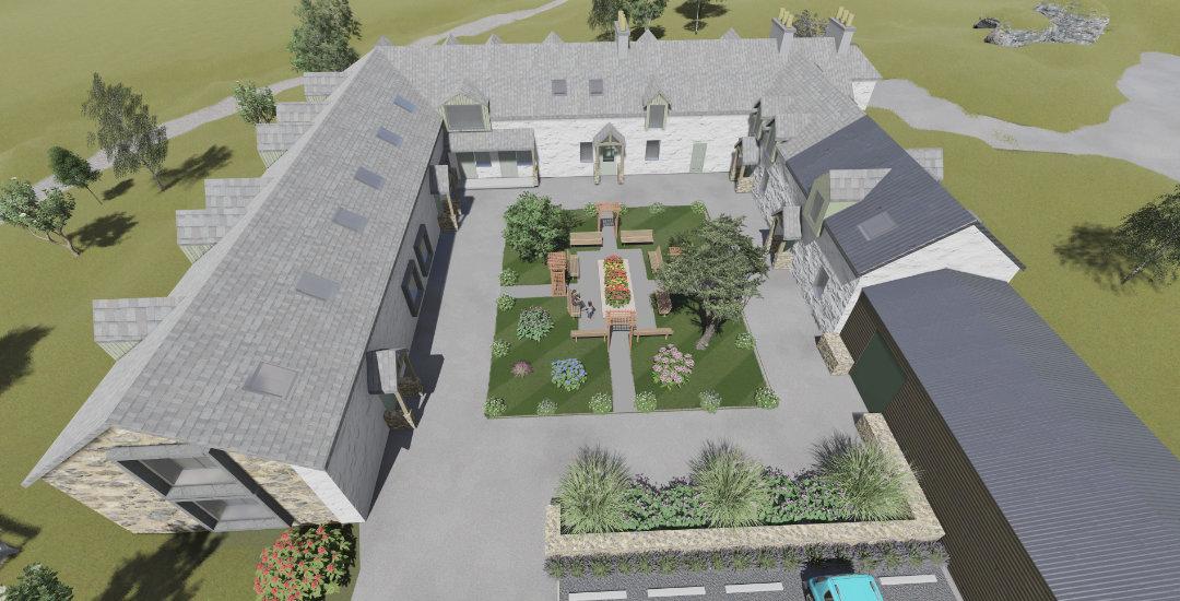 Aerial view of Courtyard Development